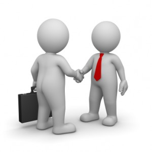 3D Character is Businessman , they give handshake to each other